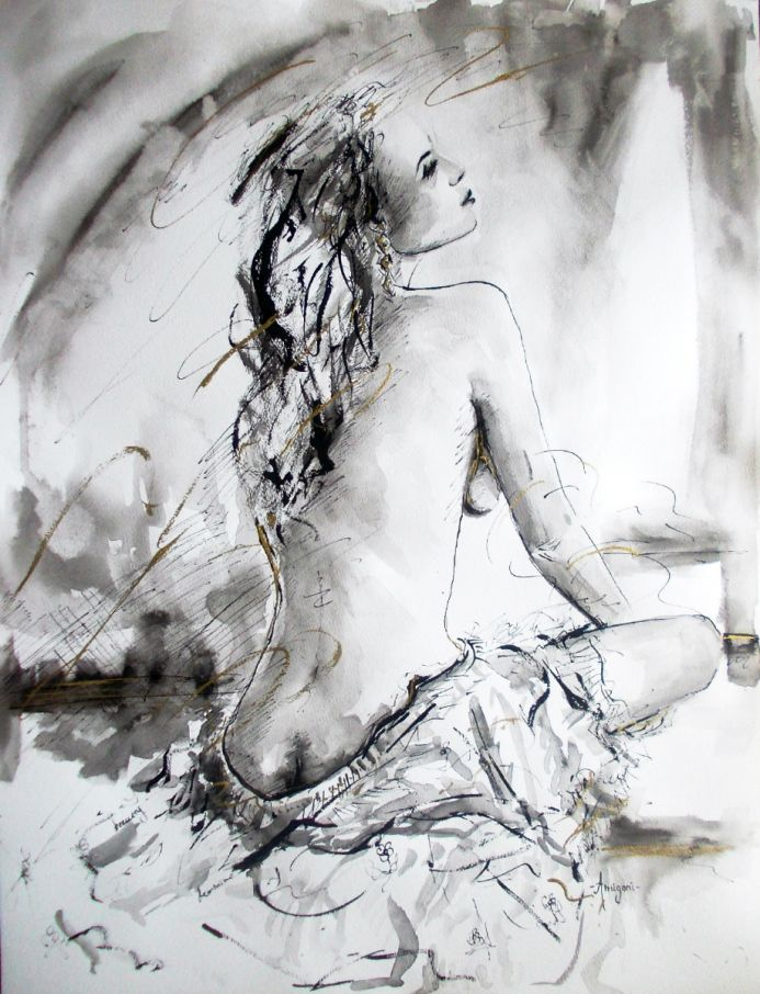 Moonlight Repose- Woman-Nude Woman Figurative Ink Drawing on Paper