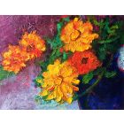 Sunny Marigold Flowers Oil Painting