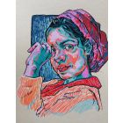 Woman in scarf. Portrait - ORIGINAL ART