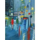 FASHION MODELS CITY RAIN LIGHTS. Original Female Figurative Oil Painting. Varnished.
