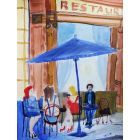 FEMALES & LONESOME, RESTAURANT RED WINE. Original Impressionistic Figurative Watercolour Painting.