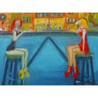 CAFE FASHION MODEL FRIENDS DRINKING WINE. Original Figurative Oil Painting. Varnished.