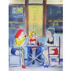 GIRLS RED WINE CAFE. Original Impressionistic Figurative Watercolour Painting.