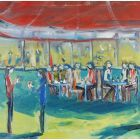 CAFE ROUGE OPEN? Original Impressionistic Figurative Oil Painting.
