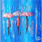 Sapphire Showers - Original Acrylic Painting on Canvas