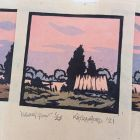 'Evening Glow' Hand printed, limited edition landscape lino print