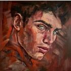 Male portrait gay oil painting young handsome man face