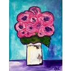 Pink Abstract Roses in. White Jar