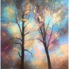 Contemporary tree painting with metallic highlights by Jo Starkey