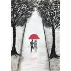 Love couple with red umbrella nr9