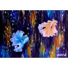 Betafish Original painting, Beta Fish Handmade Painting , Fishing Cabin Coastal Lake House Siamese Fighting Fish Gift for him, tropical fish