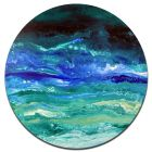 Mediterranean - Large round modern abstract painting art
