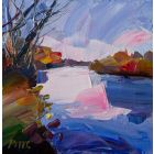 Thames, an original acrylic on canvas painting, by Jonathan Pitts. Plein air art, contemporary landscape painting.