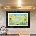 The White Hare Ceramic Tile Splashback Hand painted with Border