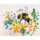Bumblebee - Honeybee on Spring flower Unique Mixed media on paper