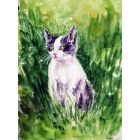 Playful Kitten Painting  Cute kitten watercolors on paper
