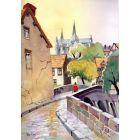 Chartres, France. Cathedral, Moulin de Ponceau, Bridge, River Eure