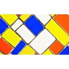 Stained Glass Composition In Orange Yellow Blue Window Suncatcher Panel