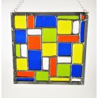 Stained Glass Tiffany Abstract Composition In Orange Blue Yellow Green Window Panel Suncatcher