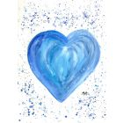 Blue heart watercolour