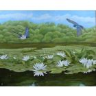 Swallows over Bosherston Lily Ponds