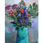 Flowers in a Turquoise Vase