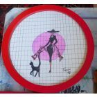 The Lady And The Cat (FRAMED IN A BRIGHT RED ROUND FRAME)