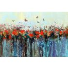 Dance of butterflies - Large abstract red flowers with butterflies, original artwork, abstract landscape