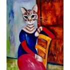 CAT IS SITTING ON THE CHAIR INSPIRED BY AMEDEO CLEMENTE MODIGLIANI