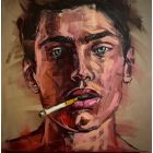 Young man smoking gay oil painting, handsome guy portrait