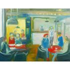 CAFE SCENE LATE BREAKFAST ORDER & WINE. Original Oil Figurative Painting. Varnished.