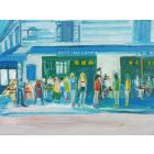 FASHION MODELS, RESTAURANT, RUE D'ABBEVILLE. Original Oil Figurative Painting. Varnished.