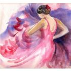 Spanish Flamenco Dancer Watercolor on paper
