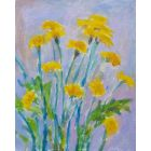 Golden Dandelions in Purple 10x8inches