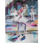 Ballet Scene- Ballerina Watercolor Painting on Paper