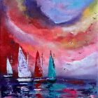 Sailboat Evening Abstract painting 124