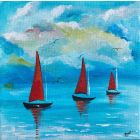 Sailboat Morning Abstract painting 144