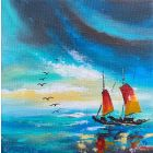 Sailboat Abstract painting 212