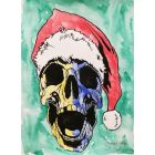 Festive Bonehead. Christmas Watercolour Painting.