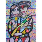 Hugging in love 4 beautiful colorfully love composition Dimisca 60  x 80 cm