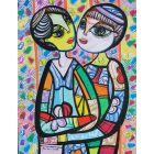 Hugging in love 2 beautiful colorfully love composition Dimisca 60  x 80 cm