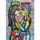 Hugging in love 1 beautiful colorfully love composition Dimisca 60  x 80 cm