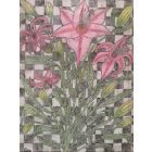 Lillies and leaves on canvas