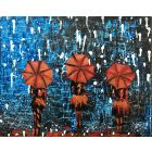 Rainy Day Girls with Umbrella 222