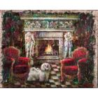''A dog, fireplace and fire''.