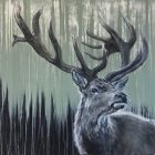 Green Stag, Large Painting