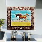 Arabian horse ceramic tile splashback with 3D accent border