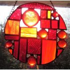 MARS THE RED PLANET Stained Glass Art Abstract Fiery Red Handmade Window Suncatcher Panel