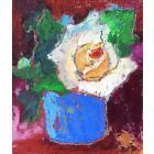 Miniature Rose. Floral oil pastel drawing.