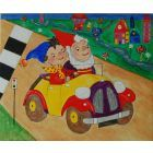 Noddy & Big Ear's in the car.